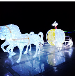 LED Horse with Pumpkin Sculpture Lights