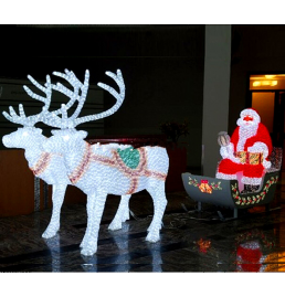 LED Sculpture Santa Claus with Sleigh Lights