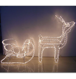 LED Deer with Sleigh Motif Lights