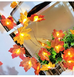 Battery Powered LED Maple Leaf Lights